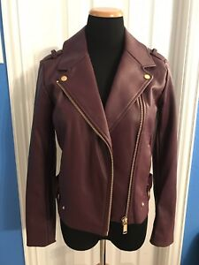 MICHAEL KORS Moto Biker Faux Leather Zip Up Jacket Deep Burgundy Sz Small NWT