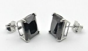 Black Diamond Stud Earrings 1 Ct Princess Cut Real 14K Solid White Gold PushBack