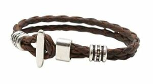 Torino Leather Co Men's Genuine Braided Leather Silver Plated T-Bar Bracelet New