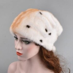 Genuine Whole Mink Fur Winter Hats Women With Fur Pompom Solid Warm Beanies Caps