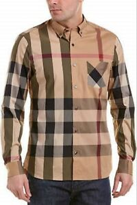 Burberry london men's camel long sleeve check button down shirt sml