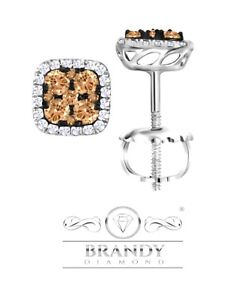 Brandy Diamond® Chocolate Brown 14K White Gold Outstanding Stud Earrings .50 CT