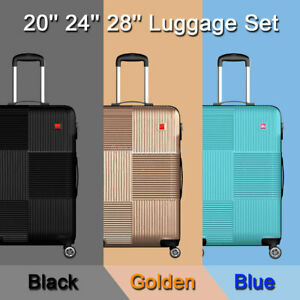3 Piece Luggage sets Lightweight Durable Spinner Suitcase Carry On 20