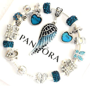 Pandora Bracelet Bangle Silver Mom Son with Blue Angel Wing European Charm New