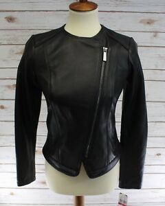 Michael Kors Black Leather Collarless Asymmetrical Zip Moto Jacket Petite XS NWT