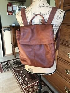 EUC American Leather Co Liberty Backpack Brown tooled Embossed Authentic Leather
