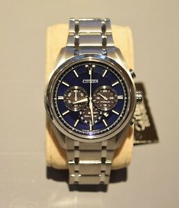Citizen Titanium Bracelet Ca4016-51l Eco-drive Chronograph Blue Dial Mens Watch