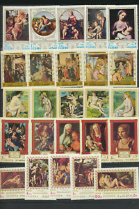 Famous Art Mint NH Paintings Sets FUJEIRA 5 Different $30.00 Retail Value $3.47