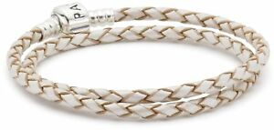 Pandora Double Woven Champagne Leather And Silver Starter Bracelet In 925...