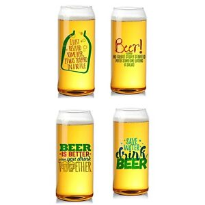 PACK OF 4 NOVELTY BEER CAN GLASSES 16OZ/454ML-BAR BEVERAGE WINE WHISKEY DURABLE