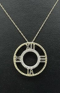 10k Solid Gold Diamond Clock Necklace Circle Roman Numeral Floating Pendant