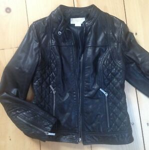 MICHAEL KORS WOMENS GENUINE LEATHER MOTO JACKET M Black. EUC! Super soft!