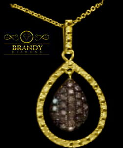 Brandy Diamond Chocolate Brown 18K Yellow Gold Silver Floating Teardrop Necklace