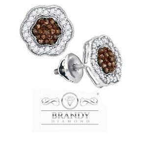Brandy Diamond® Chocolate Brown 10K White Gold Pretty Sparkling  Stud Earrings