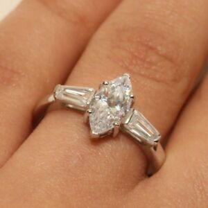 1ct DIAMOND Marquise stone ENGAGEMENT ring SOLID 14k white GOLD Size 7