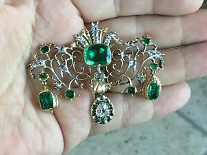 ANTIQUE GEORGIAN PERIOD GIA COLOMBIAN EMERALDS AND OLD MINE DIAMONDS BROOCH