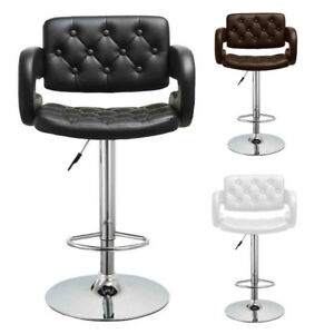 Set of 2 Bar Stool PU Leather Dining Chair Hydraulic Counter Kitchen Pub Swivel
