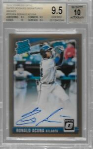 RONALD ACUNA 2018 Donruss Optic Bronze RC Autograph BGS 9.5  10 Auto ATL BRAVES