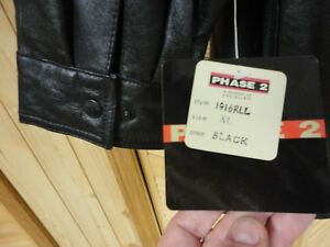 WOMENS Leather Jacket Size XL Large BLACK HOODIE WITH TAGS  PHASE 2