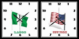 Custom Photo Logo Two Dials Time Zone Wall Clock On Aluminum Plate 12quot;x24quot;