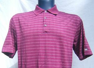 Nike Mens L Fit Dry Tiger Woods Striped Purple Performance Golf Polo Shirt