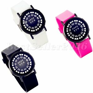 Fashion Womens LED Mirror Lantern Dial Silicone Band Electronic Wrist Watch Gift