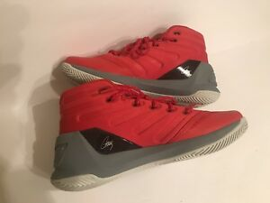 New Under Armour UA Steph Curry Girls Boys Basketball Shoes Red Gray Sz 4 12Y