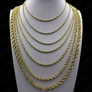 Real 10K Yellow Gold 2mm to 6mm Diamond Cut Rope Chain Pendant Necklace 14