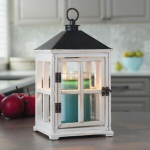 13 in. Weathered White Candle Warmer Lantern Casual Cottage Style Indoor Decor