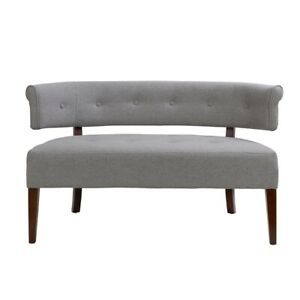 Jared Roll Arm Tufted Bench Settee Light Grey