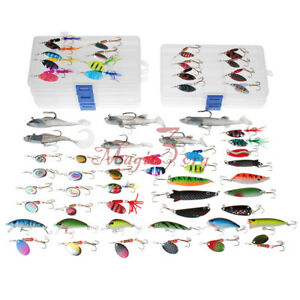 Mixed Lot 60 Ice Fishing Spinner Spoon Lures Bass Pike Salmon W 5 Tackle Boxes