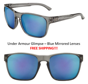 NEW! FREE SHIP! Under Armour Glimpse Crystal Smoke Frame Blue Mirrored Lenses!