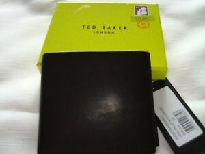 Ted Baker NEW Black Bifold Men's Leather Wallet with Coin Pocket