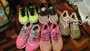 4 pairs youth under armour shoes variety colors& 1 pair real tree girl camo