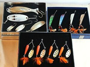 Pick ONE(1) box of vintage ABU Record spinner luresmother-of-Pearl spoons-used