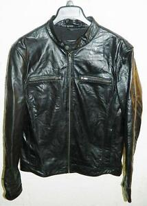 SW1780 Guess Men's Moto Black Jacket Genuine Leather NWT Size M MSRP $595.00