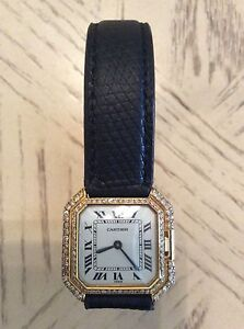 Rare Vintage Cartier Ceinture 18Kt Gold Ladies watch with diamonds from the 70's