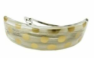 Parcelona French Curved Hand Painted Golden Polka Ivory Brown Hair Clip Barrette $12.95