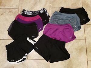 Nike Dri Fit Under Armour Asics Athletic Running Shorts Lot of 8 Womens XS Girls