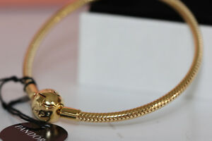 AUTHENTIC PANDORA SHINE SMOOTH CHARM BRACELET 567107 BOX 18K GOLD PLATE $200
