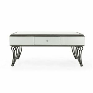 Ophelia Modern Mirrored Coffee Table with Drawer Tempered Glass