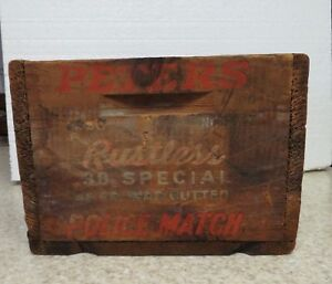 Vintage PETERS Small Arms Ammunition Police Match 38 Special Wooden Box Crate
