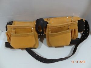 AWP General Construction Leather Adjustable Tool Belt Holster 4 Pocket Pouch Bag