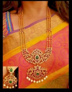 Designer micron gold plating with CZ   filgree style long haraam set