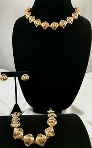 18K Two Tone Gold w Sapphires Fortune Cookie NecklaceBracelet Earrings