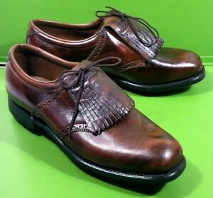 New Arnold Palmer By Eaton Brown Leather Kilt Steel Spike Golf Shoes Size 9D