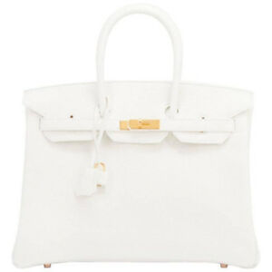 Gift!  RARE Hermes White 35cm Birkin Gold Hardware Bag Brand New in Box