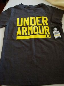 UNDER ARMOUR BOYS T-SHIRT SIZE 4 GRAY & NEON YELLOW NEW FOR FALL MSRP $17.99