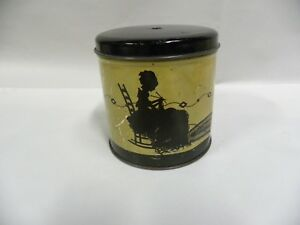 Vtg Tin Can Litho String Yarn Holder Silhouette Lady Knitting Cat Playing A3