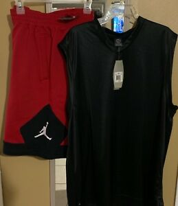 NEW NIKE AIR JORDAN DRI-FIT SLEEVLESS SHIRT&SHORTS BOTH SZ XXL BLACK (OUTFIT)